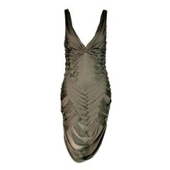 NWT S/S 2005 Gucci  Army Green Plunging Cut-Out Strappy Bodycon Dress
