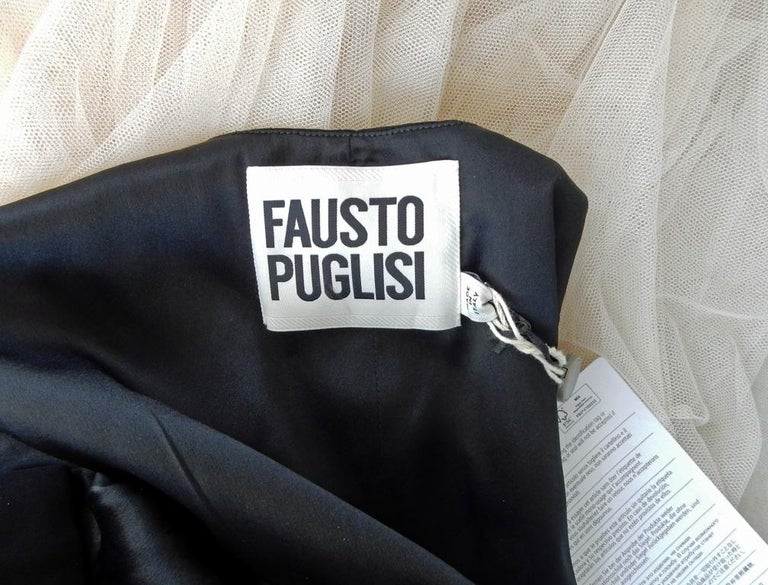NWT Fausto Puglisi Dramatic Runway Asymmetric Black & White Dress Gown For Sale 6