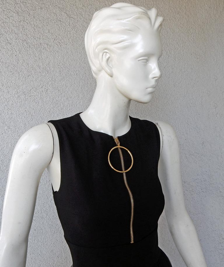 Women's NWT Fausto Puglisi Dramatic Runway Asymmetric Black & White Dress Gown For Sale