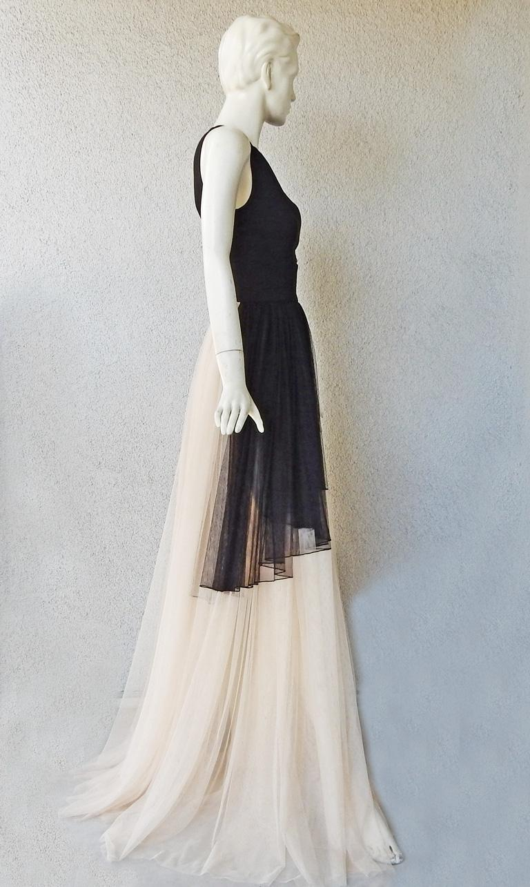 NWT Fausto Puglisi Dramatic Runway Asymmetric Black & White Dress Gown For Sale 2