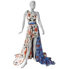 NWT Fausto Puglisi Exotic Grecian High Low Silk Dress Gown