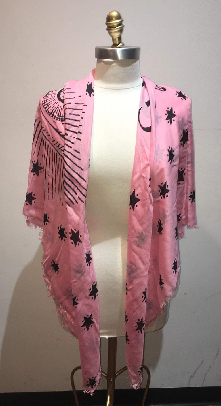 NWT Gucci garden eye star silk shawl in New with tags condition. Original silk screen design from the 2018 Limited edition Gucci garden collection features a centered eye design with stars surrounding over a pink background. Made in Italy, no stains