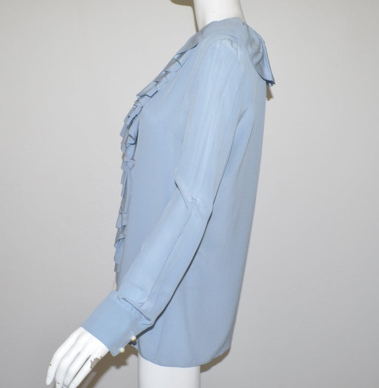 NWT Gucci Powder Blue Ruffled Blouse In Excellent Condition For Sale In Carmel by the Sea, CA