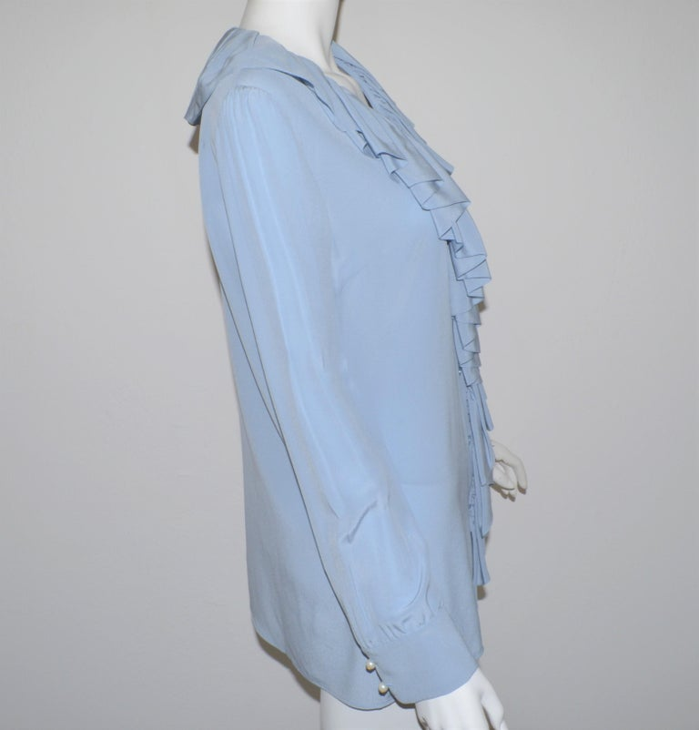 Women's NWT Gucci Powder Blue Ruffled Blouse For Sale