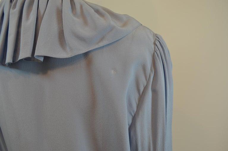 NWT Gucci Powder Blue Ruffled Blouse For Sale 2