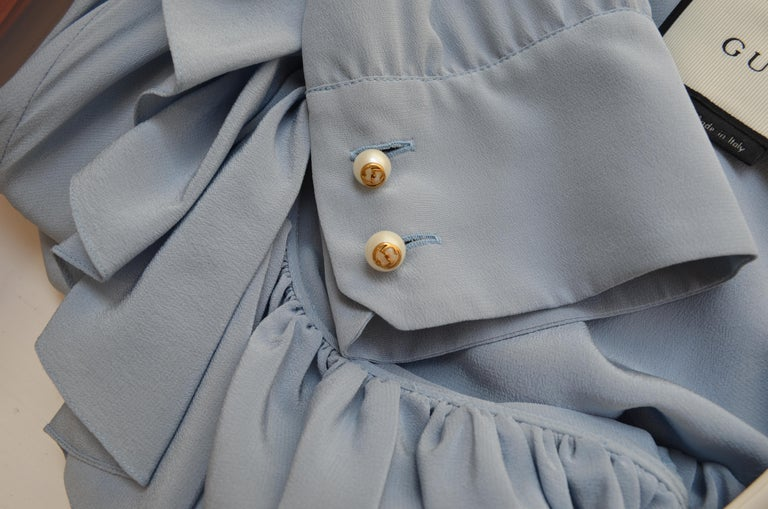 NWT Gucci Powder Blue Ruffled Blouse For Sale 3
