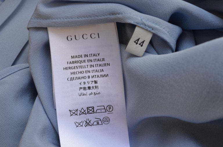 NWT Gucci Powder Blue Ruffled Blouse For Sale 5