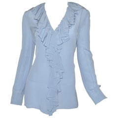 NWT Gucci Powder Blue Ruffled Blouse