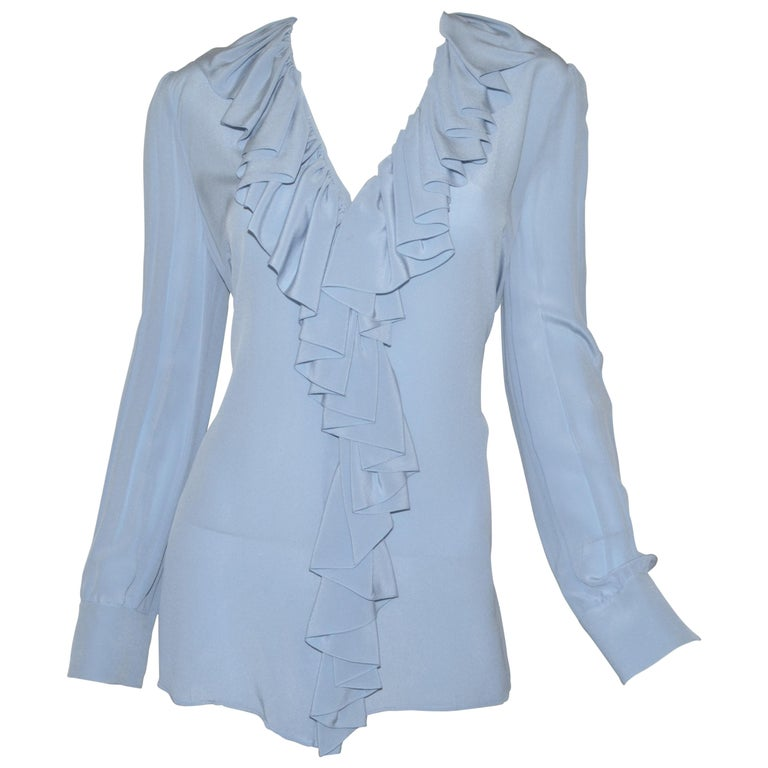 NWT Gucci Powder Blue Ruffled Blouse For Sale
