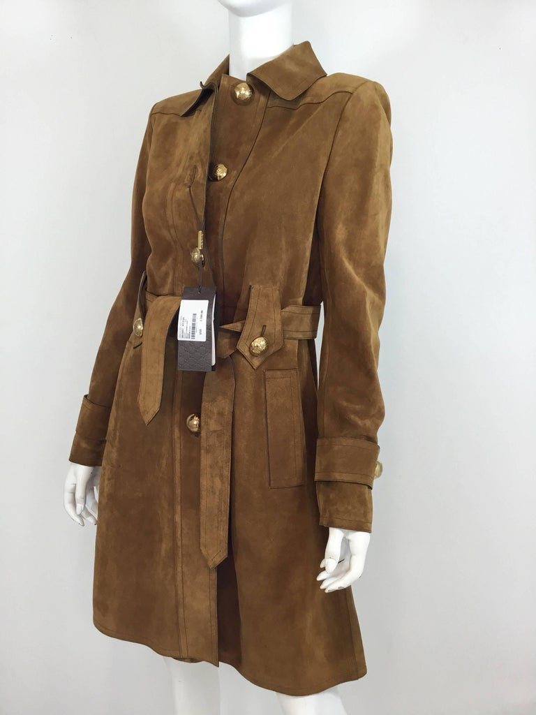 434ced09c Gucci cognac-colored suede leather coat with gold-tone large button  closures along the