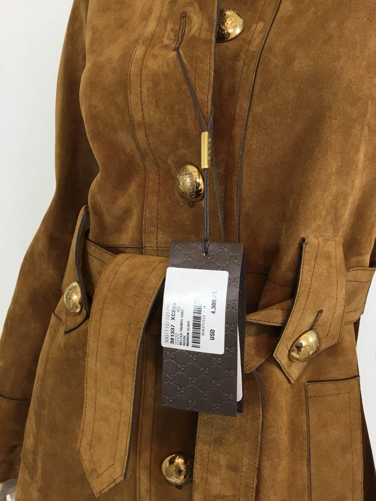 aeb9f4135 Gucci Suede Leather Belted Coat, Winter 2015 In New Condition For Sale In  Carmel by