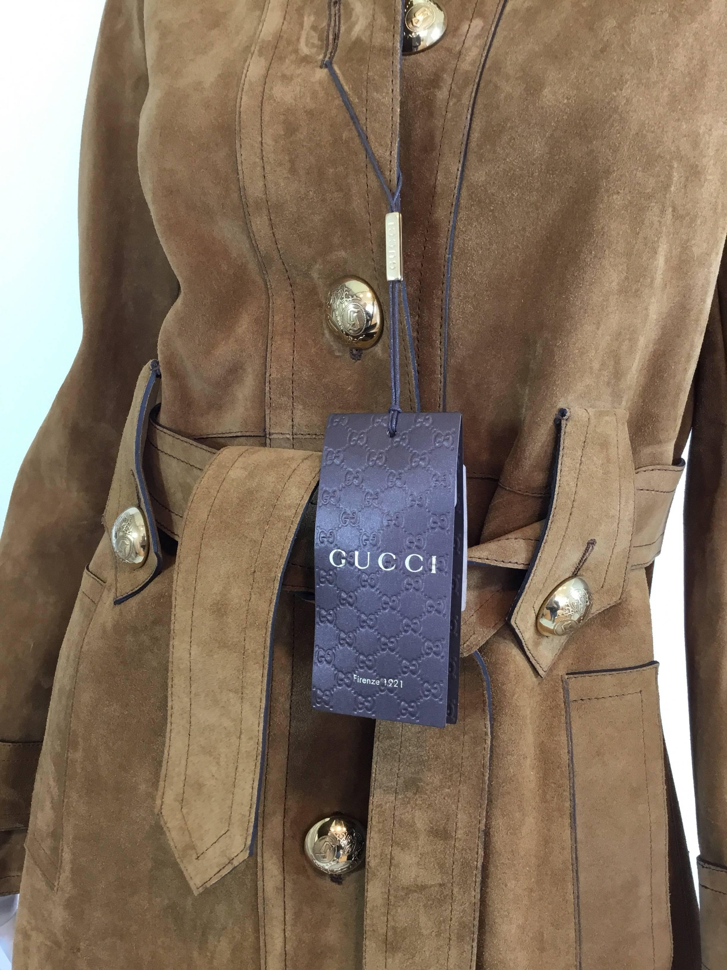 64348a041 Gucci Suede Leather Belted Coat, Winter 2015 at 1stdibs