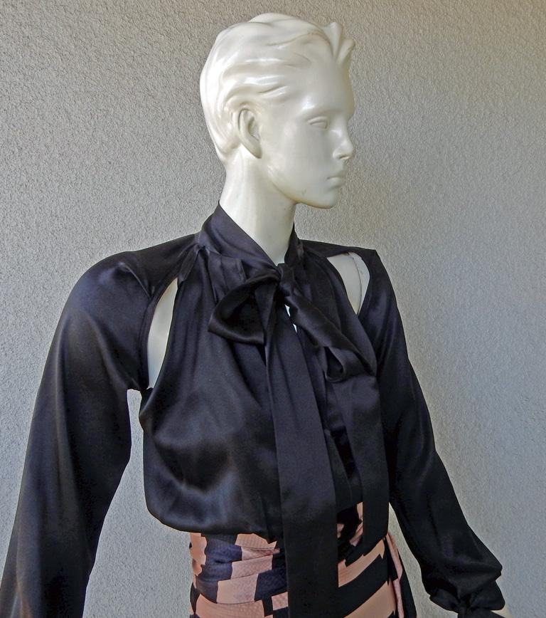 Black NWT Juan Carlos Obando Cool Cut-Out Wrap Silk Dress mugler For Sale