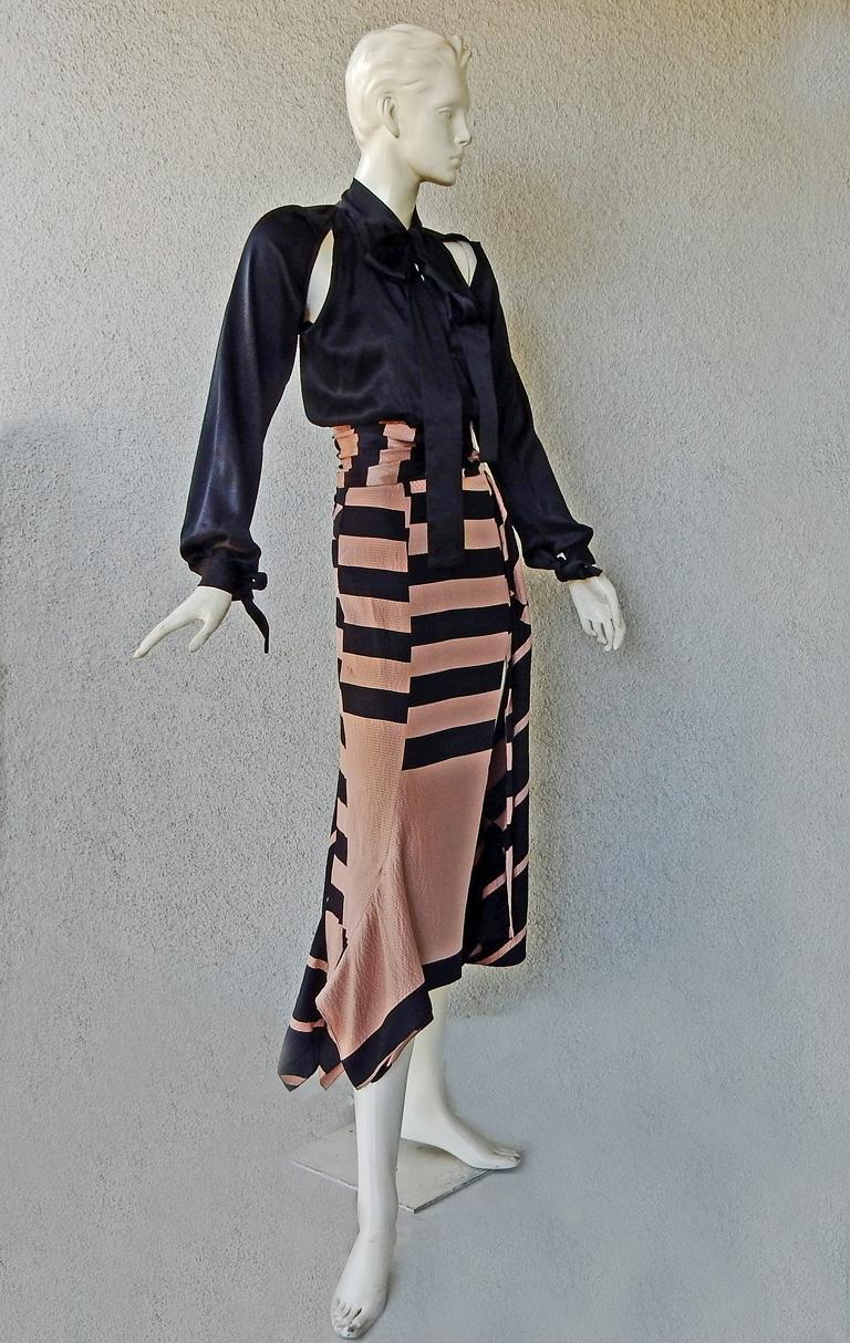 NWT Juan Carlos Obando Cool Cut-Out Wrap Silk Dress mugler In New Condition For Sale In Los Angeles, CA