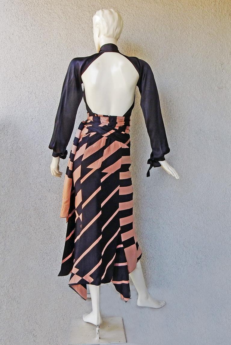 Women's NWT Juan Carlos Obando Cool Cut-Out Wrap Silk Dress mugler For Sale