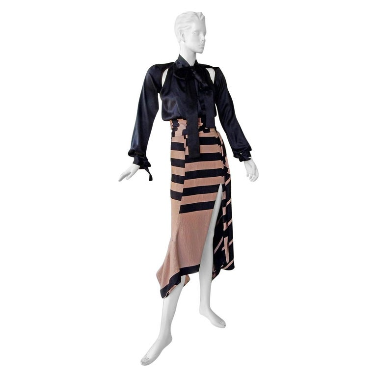 NWT Juan Carlos Obando Cool Cut-Out Wrap Silk Dress mugler For Sale