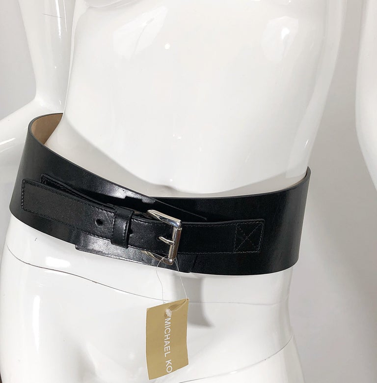 NWT Michael Kors Collection Size Large Black Leather Corset Style Waist Belt For Sale 7