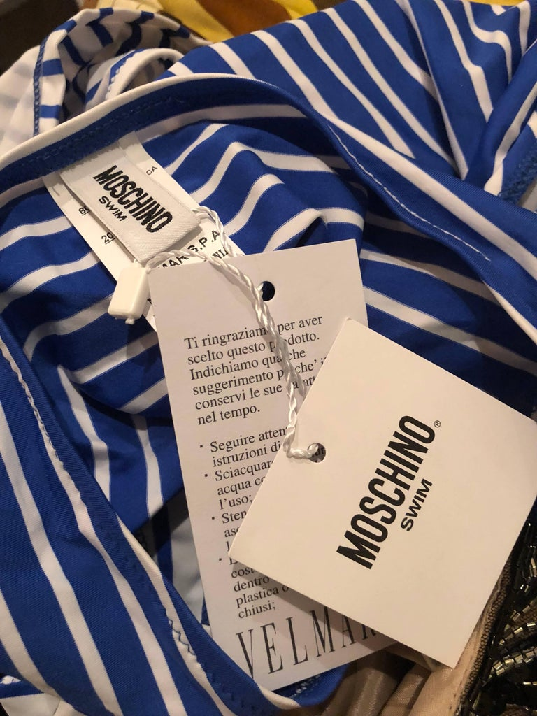 30f040627967b NWT Moschino Blue White Striped Nautical Sexy Cut Out Monkini One Piece  Swimsuit For Sale 6