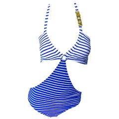 NWT Moschino Size Large / XL Blue Striped Nautical Monkini One Piece Swimsuit