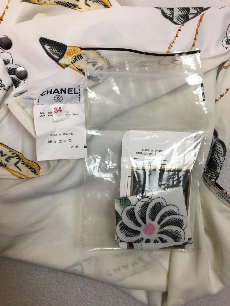 Gray NWT S/S 1996 Chanel White Logo Monogram Lipstick Print Romper Jumpsuit For Sale