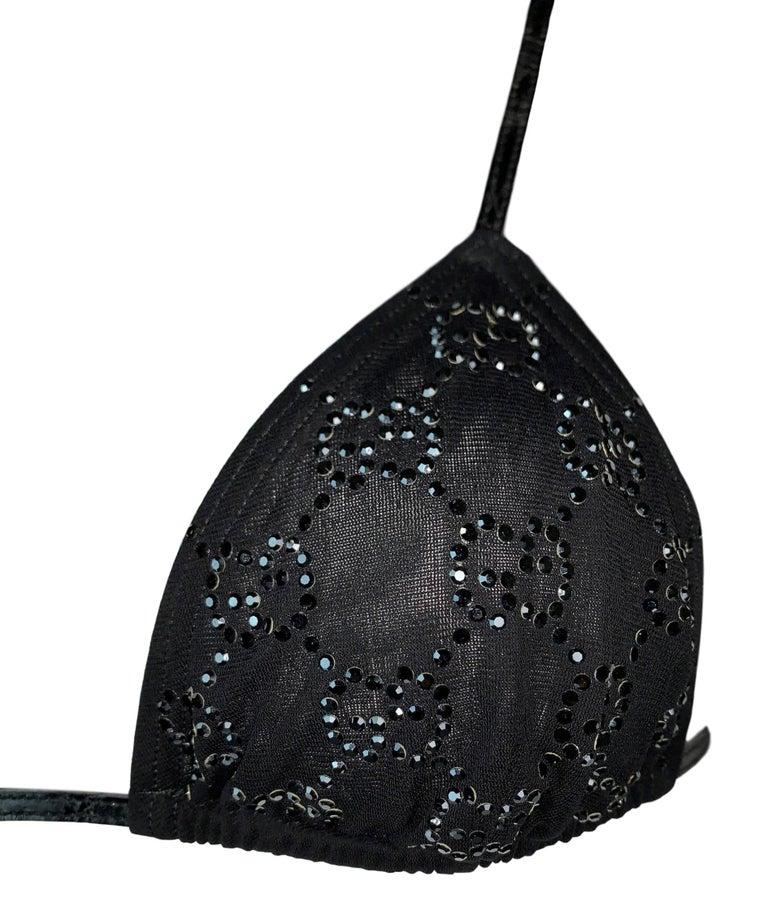 NWT S/S 1998 Gucci Tom Ford Runway Black Leather Crystal Logo Bikini Swimwear In New Condition For Sale In Yukon, OK