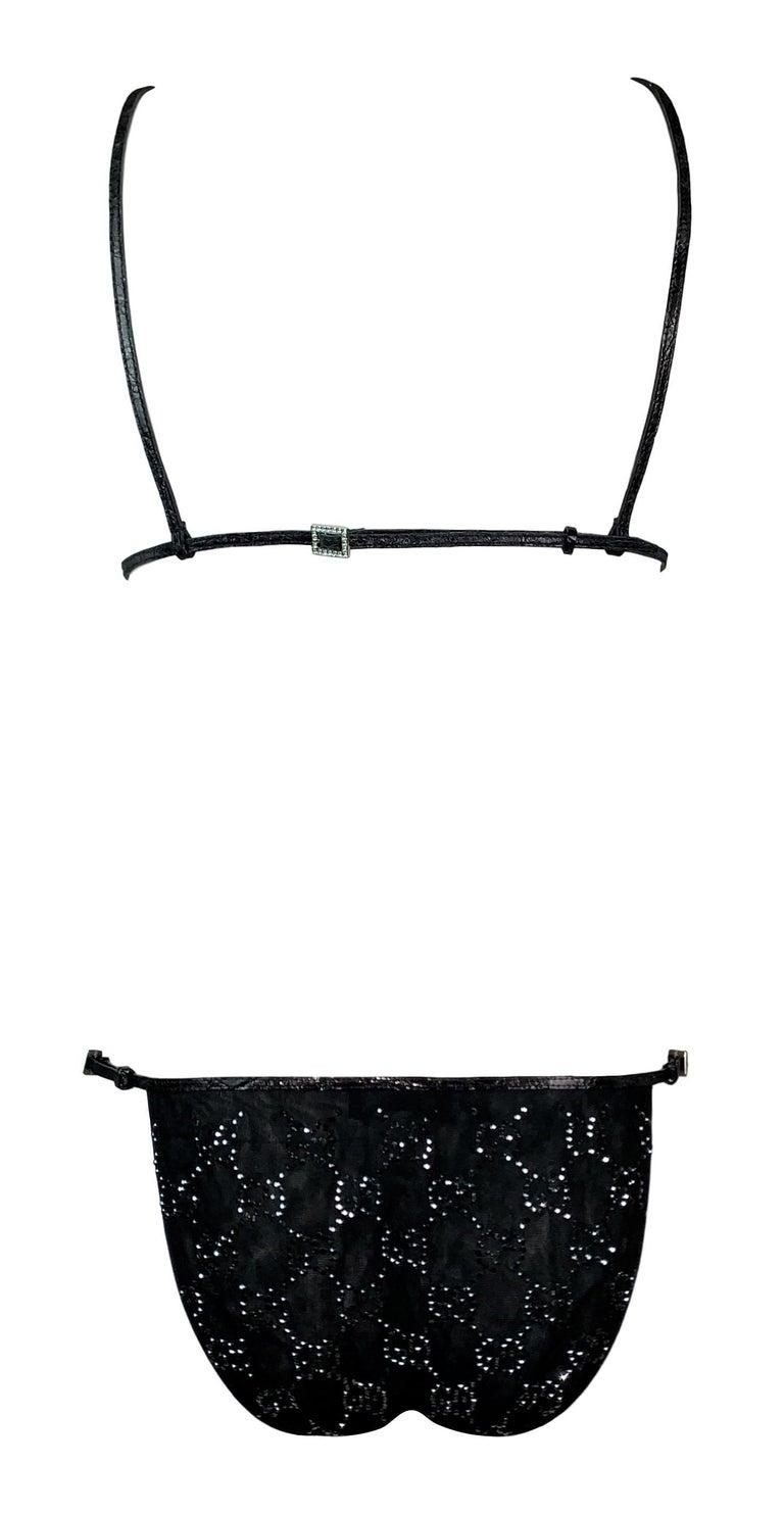 Women's NWT S/S 1998 Gucci Tom Ford Runway Black Leather Crystal Logo Bikini Swimwear For Sale