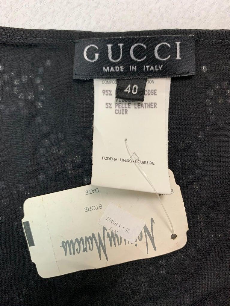 NWT S/S 1998 Gucci Tom Ford Runway Black Leather Crystal Logo Bikini Swimwear For Sale 1