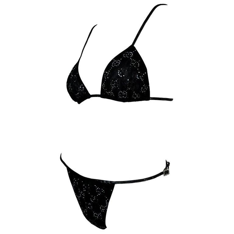 NWT S/S 1998 Gucci Tom Ford Runway Black Leather Crystal Logo Bikini Swimwear For Sale
