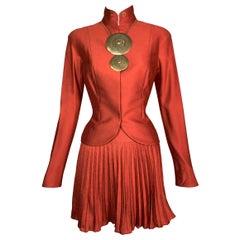 NWT S/S 1999 Christian Dior John Galliano Runway Chinoiserie Orange Skirt Suit