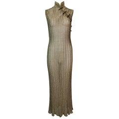 NWT S/S 1999 Christian Dior John Galliano Runway Sheer Gold Cheongsam Dress