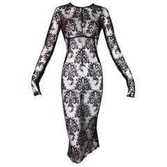 NWT S/S 1999 Dolce & Gabbana Runway Sheer Patent Lace Mesh Pin-Up Dress