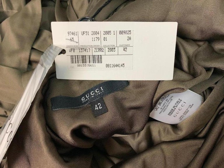 NWT S/S 2005 Gucci  Army Green Plunging Cut-Out Strappy Bodycon Dress In New Condition For Sale In Yukon, OK