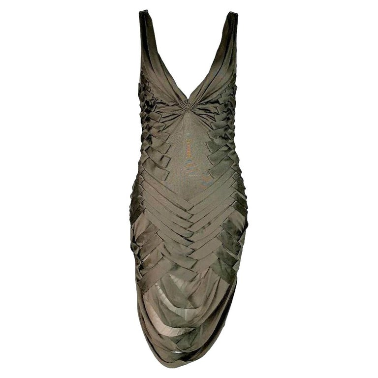 NWT S/S 2005 Gucci  Army Green Plunging Cut-Out Strappy Bodycon Dress For Sale