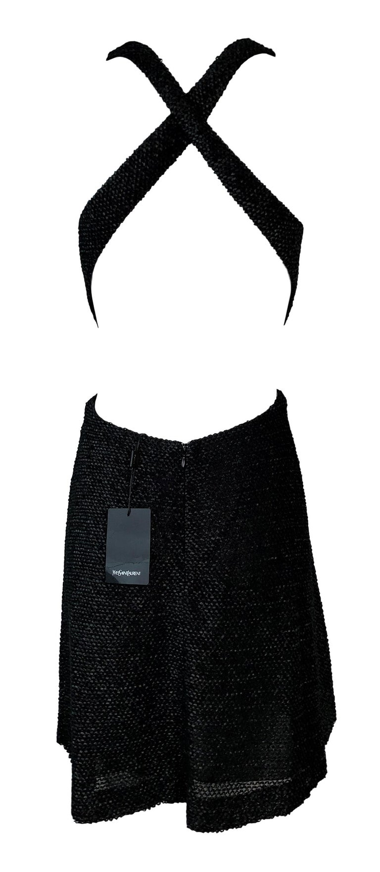 NWT S/S 2011 Yves Saint Laurent Black Cut-Out Woven Mini Dress In New Condition For Sale In Yukon, OK