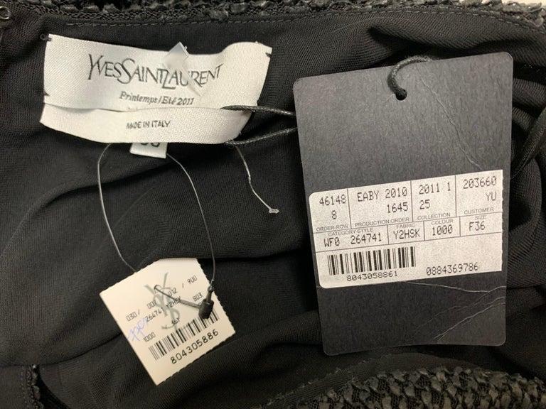 Women's NWT S/S 2011 Yves Saint Laurent Black Cut-Out Woven Mini Dress For Sale