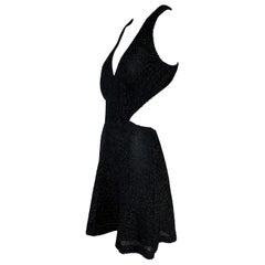 NWT S/S 2011 Yves Saint Laurent Black Cut-Out Woven Mini Dress