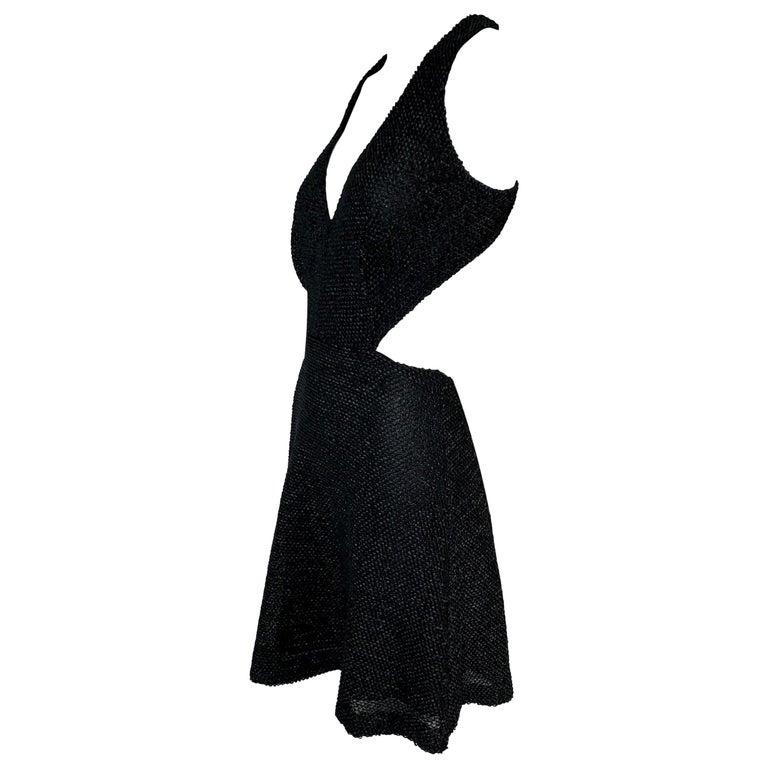NWT S/S 2011 Yves Saint Laurent Black Cut-Out Woven Mini Dress For Sale