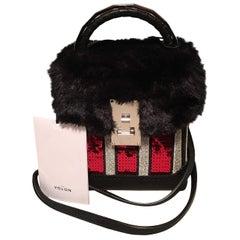 NWT The Volon Red Sequin & Black Fur Great Box Bag