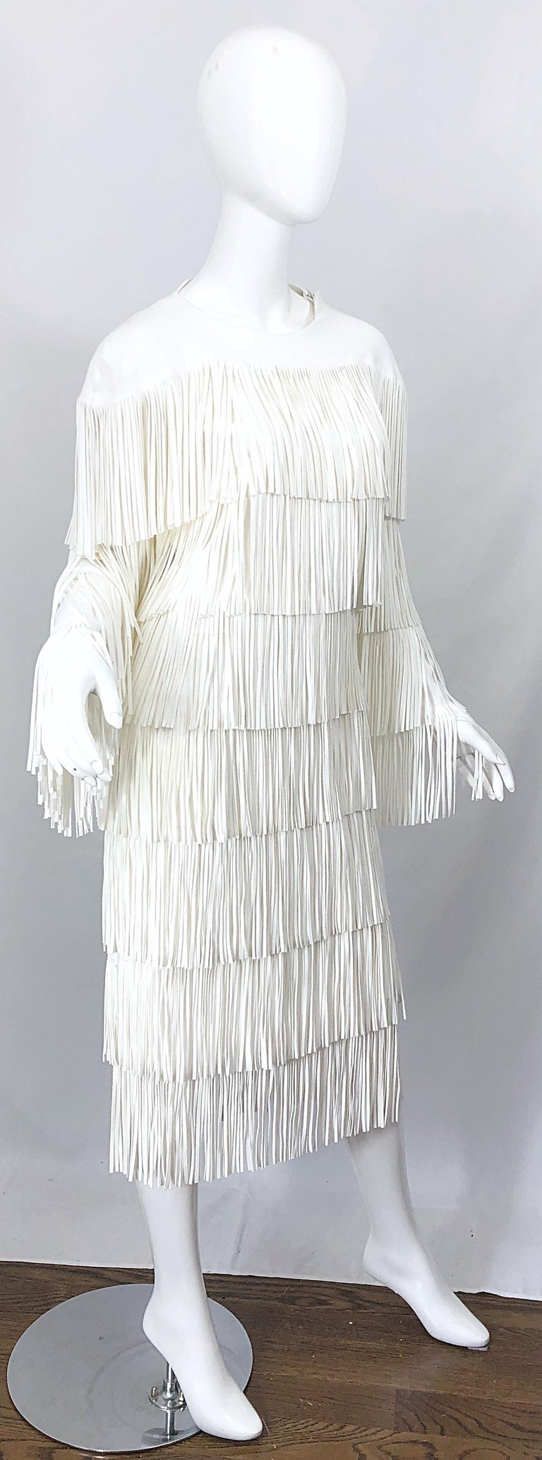 NWT Tom Ford $7,000 Runway Fall 2015 Size 42 / 8 White Open Back Fringe Dress For Sale 6