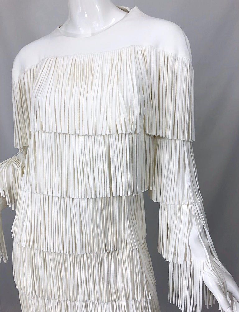NWT Tom Ford $7,000 Runway Fall 2015 Size 42 / 8 White Open Back Fringe Dress For Sale 7