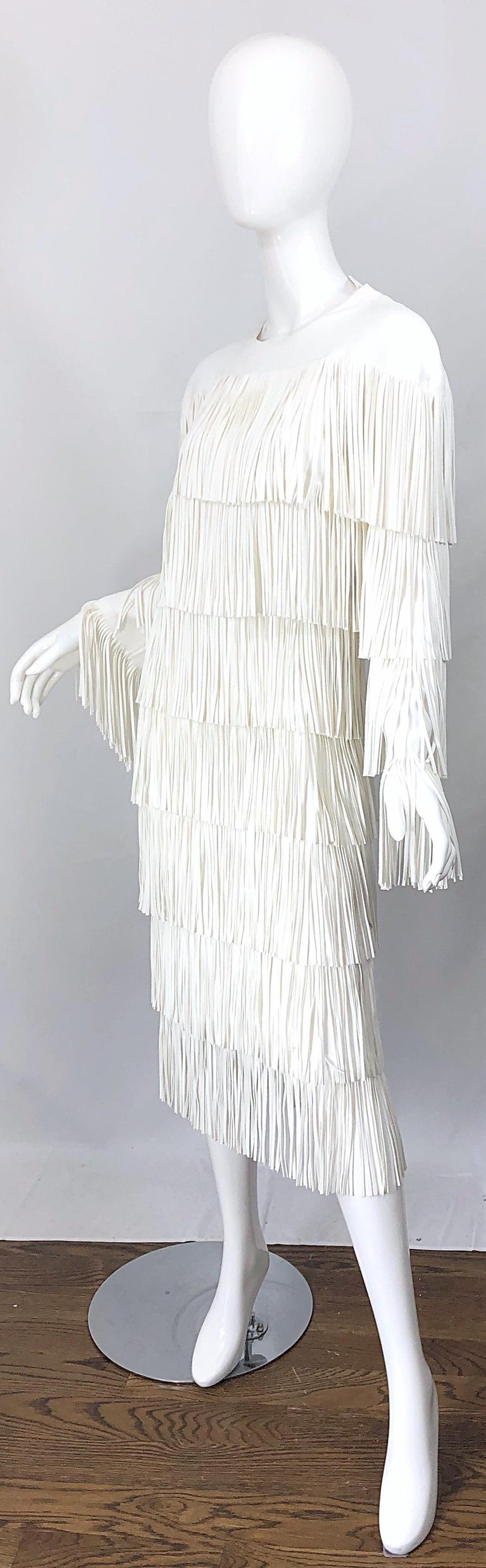 NWT Tom Ford $7,000 Runway Fall 2015 Size 42 / 8 White Open Back Fringe Dress For Sale 8