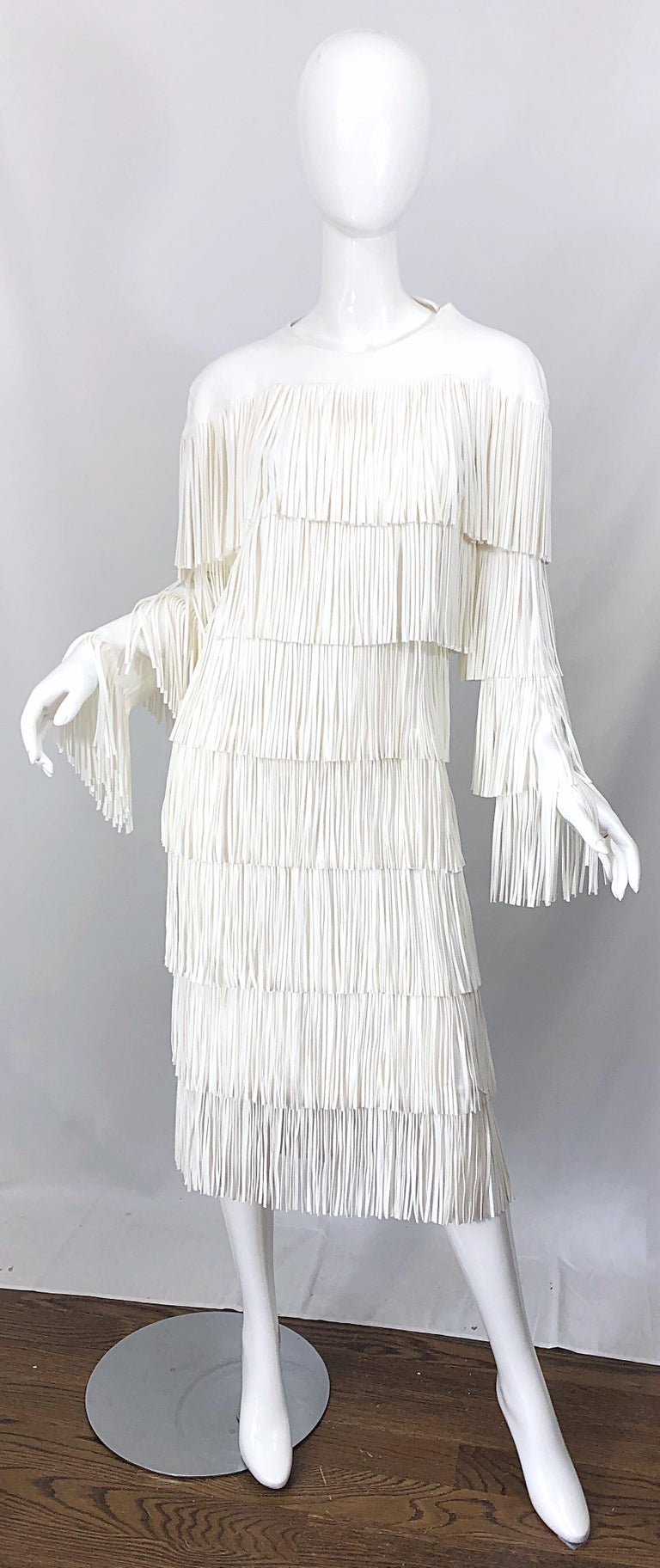 NWT Tom Ford $7,000 Runway Fall 2015 Size 42 / 8 White Open Back Fringe Dress For Sale 9