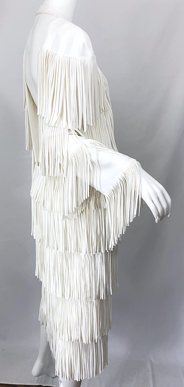 NWT Tom Ford $7,000 Runway Fall 2015 Size 42 / 8 White Open Back Fringe Dress For Sale 10