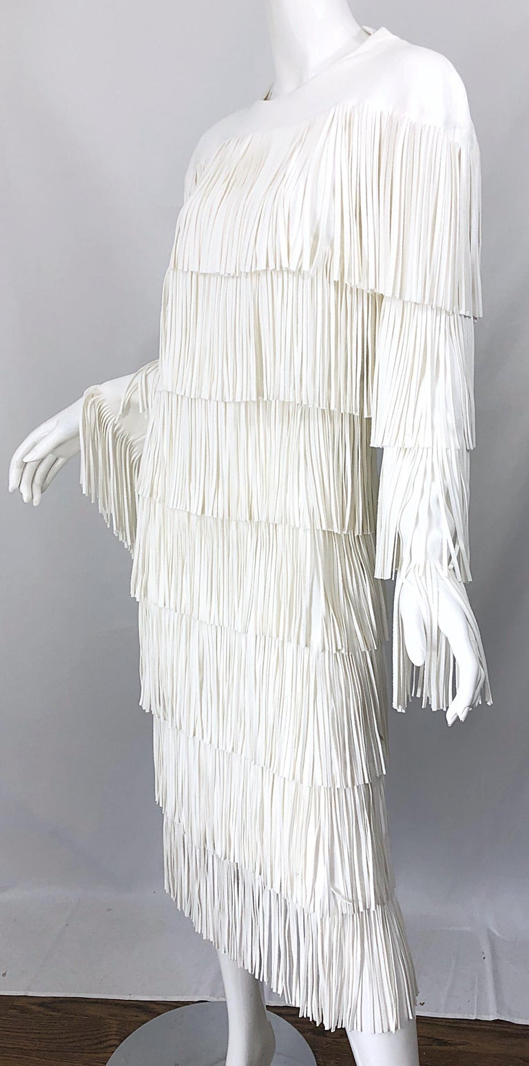 NWT Tom Ford $7,000 Runway Fall 2015 Size 42 / 8 White Open Back Fringe Dress For Sale 11