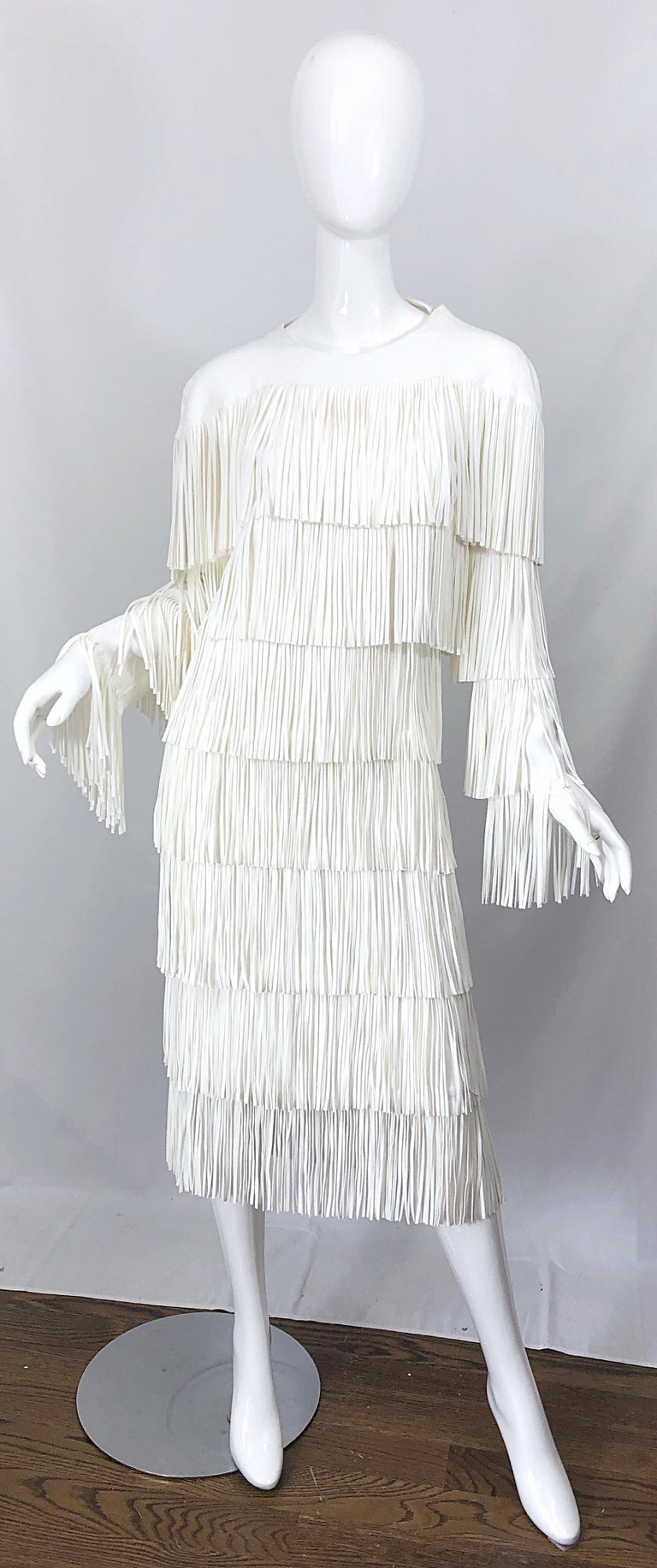 NWT Tom Ford $7,000 Runway Fall 2015 Size 42 / 8 White Open Back Fringe Dress For Sale 12