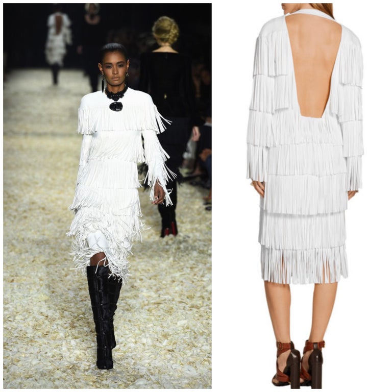 SOLD OUT Brand new with tags TOM FORD Fall 2015 runway white fringe flapper style dress! Impeccably designed, this rare gem features fabulous white tiers of fringe throughout on a rayon based crepe fabric. Open back reveals just the right amount of