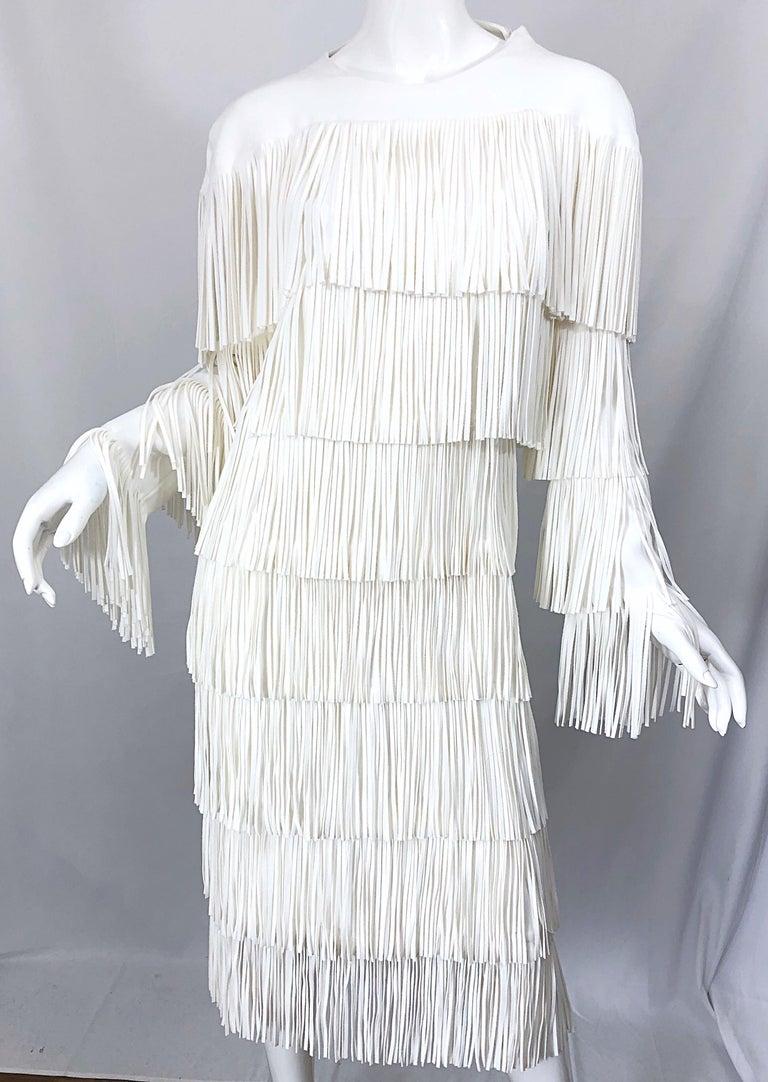 Women's NWT Tom Ford $7,000 Runway Fall 2015 Size 42 / 8 White Open Back Fringe Dress For Sale