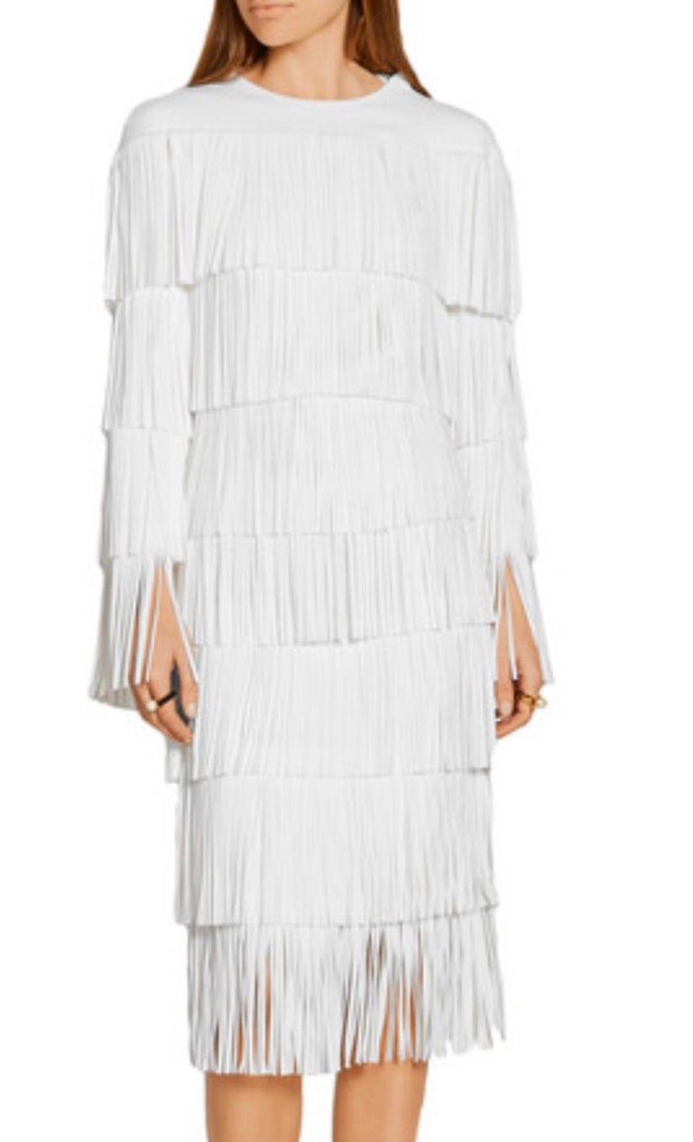NWT Tom Ford $7,000 Runway Fall 2015 Size 42 / 8 White Open Back Fringe Dress For Sale 1