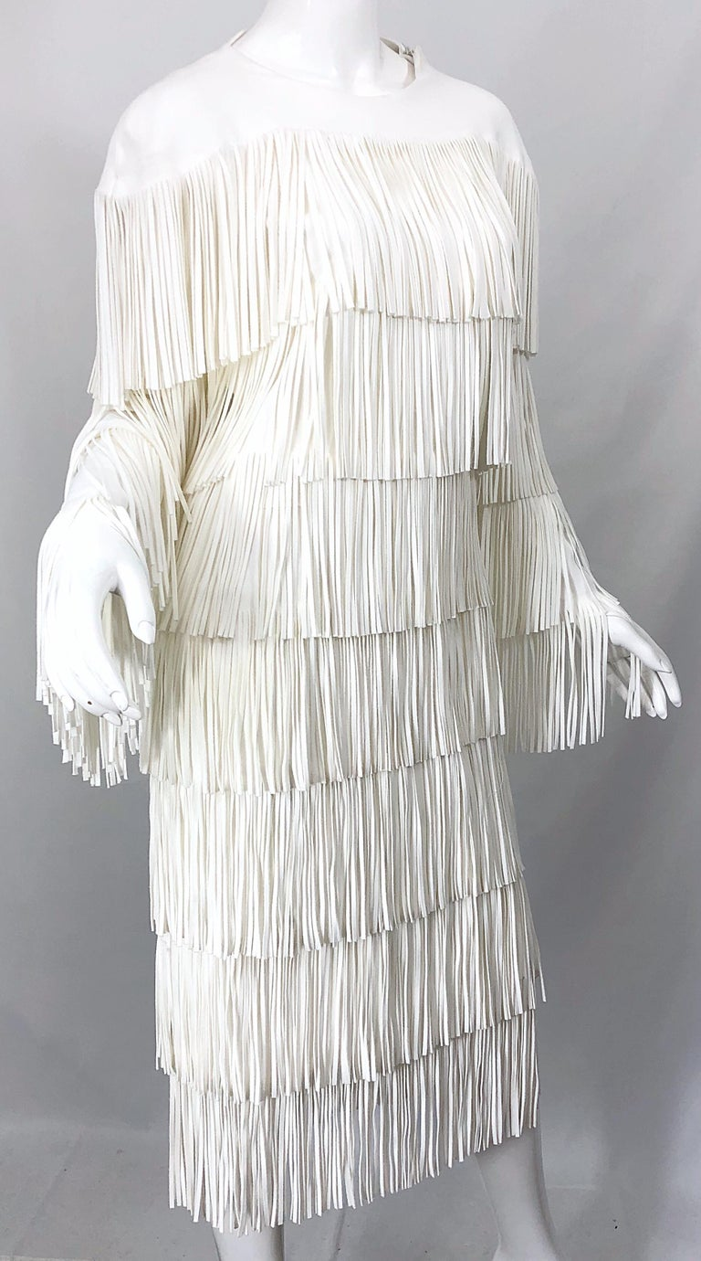 NWT Tom Ford $7,000 Runway Fall 2015 Size 42 / 8 White Open Back Fringe Dress For Sale 3