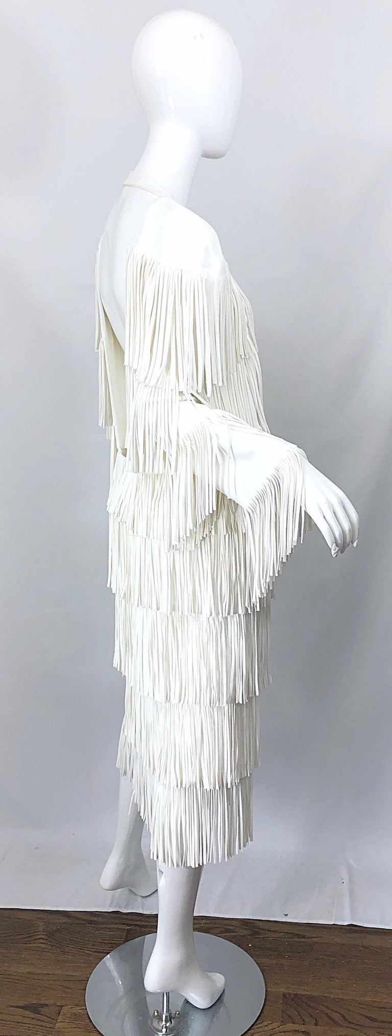 NWT Tom Ford $7,000 Runway Fall 2015 Size 42 / 8 White Open Back Fringe Dress For Sale 4
